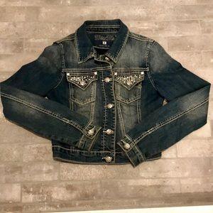 Miss Me crop rhinestone denim jean jacket